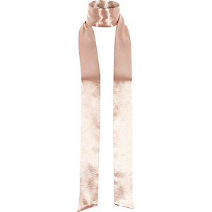 Pink satin effect skinny scarf
