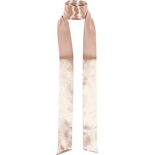 Pink satin effect skinny scarf