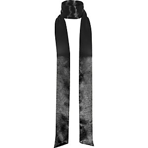 Black metallic satin skinny scarf