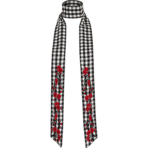 Black and white floral gingham skinny scarf