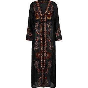 Black embroidered maxi kimono