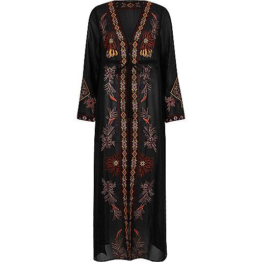 Zwarte geborduurde maxi kimono