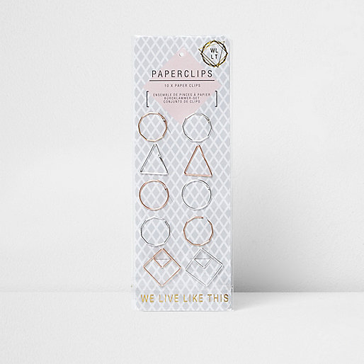 Metallic geometric paperclips pack