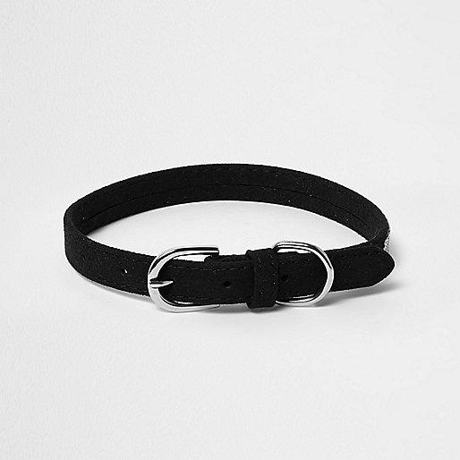 RI Dog black embellished dog collar