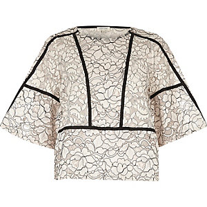 White lace floral flared sleeve top