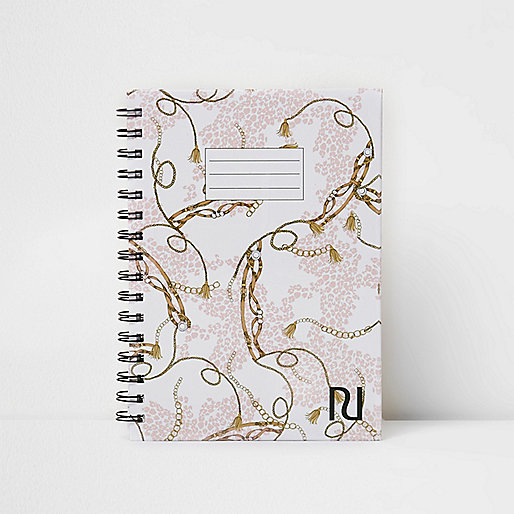 Pink A5 chain print notebook