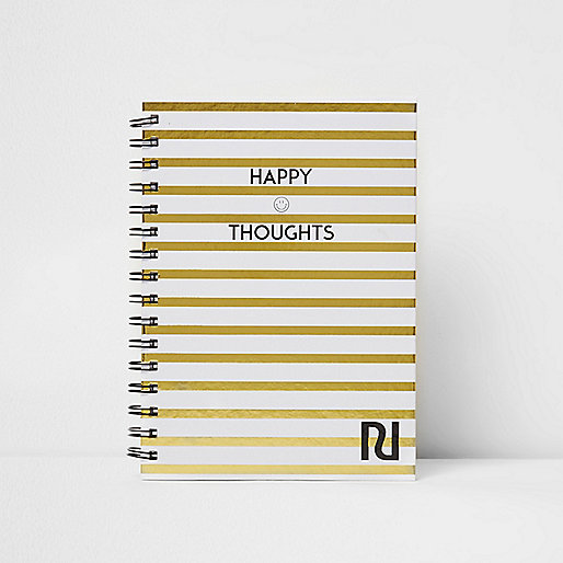 Gold A5 stripe 'happy thoughts' notebook