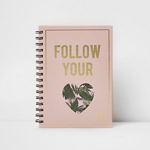 Light pink A5 'follow your heart' notebook