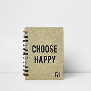 Gold A6 glitter 'choose happy' notebook
