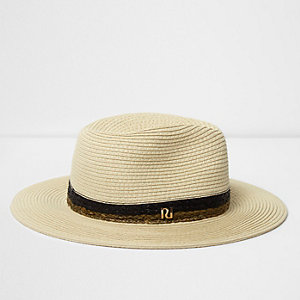 Beige straw braided trim fedora hat