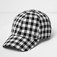 Black and white gingham baseball cap