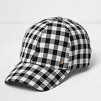 Karierte Kappe in Schwarz und Weiß