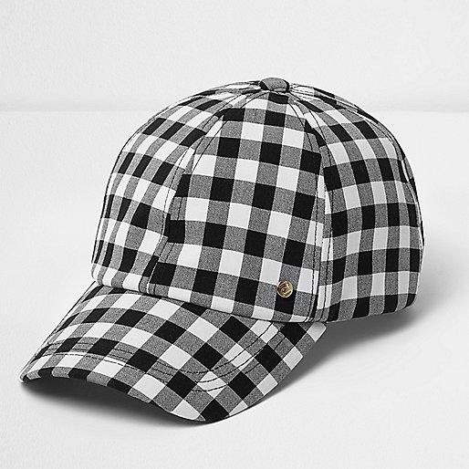 Black and white gingham cap