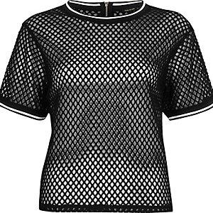 T-shirt oversize en tulle style sport noir