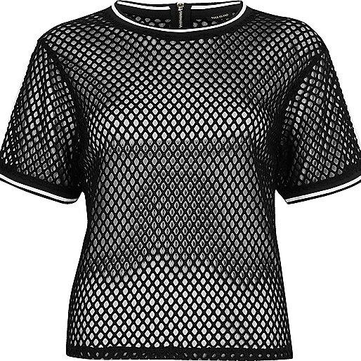 Black Mesh Sporty Oversized T Shirt Plain T Shirts