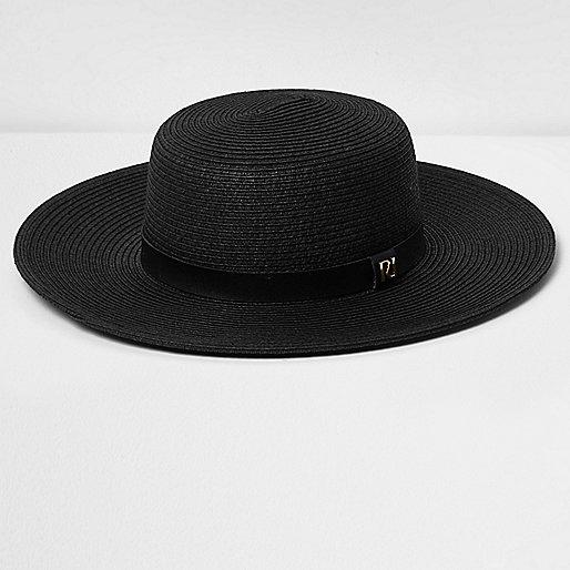 Black  flat brim straw hat