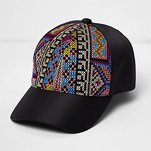 Black aztec embroidered cap