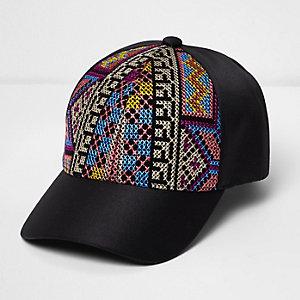 Casquette de baseball noire brodée style aztèque