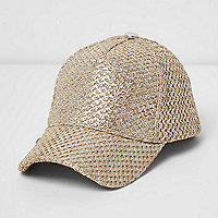 Gold foil straw baseball cap