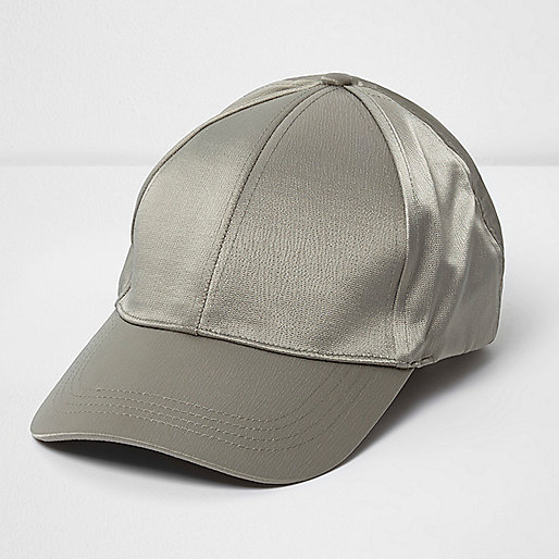 Khaki green satin baseball cap