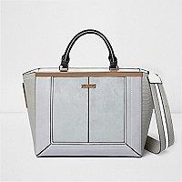 Grey panel winged tote bag