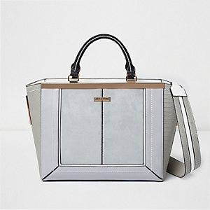 Grey panel winged tote bag