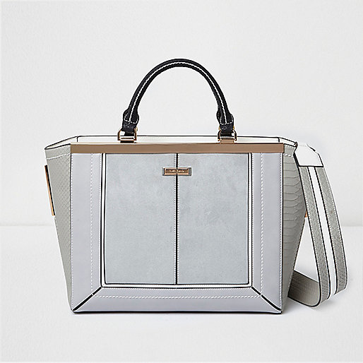10a2fbca5 River Island Grey Check Tote Bag. Grey panel winged tote bag - shopper / tote  bags - bags / purses - women
