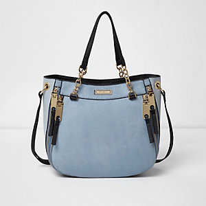 Light blue zip front scoop tote bag