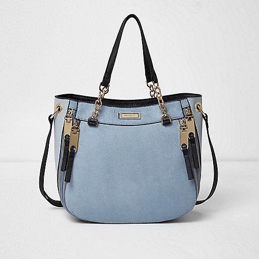 Light blue zip front scoop tote bag