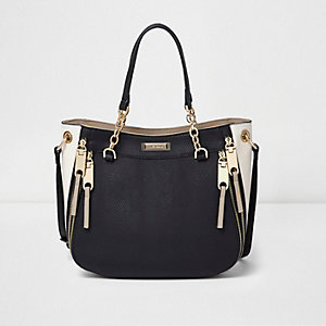 Black zip detail scoop cross body tote bag