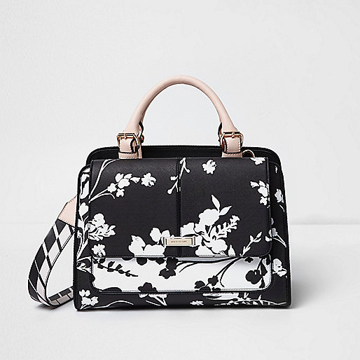 White and black floral cross body tote bag
