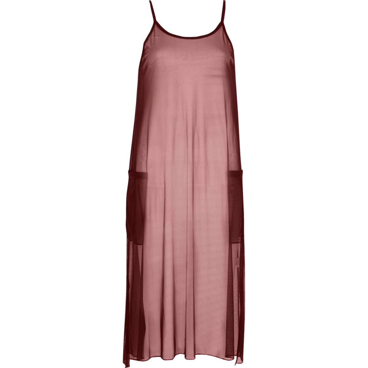 Dark red mesh longline vest