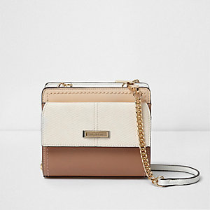 Beige front pocket chain cross body bag