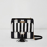 Black and white stripe cross body chain bag