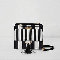 Black and white stripe cross body chain bag