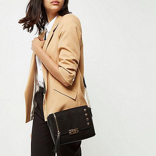 Zwarte schoudertas met ketting en studs