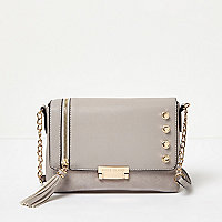 Grey chain foldover stud shoulder bag