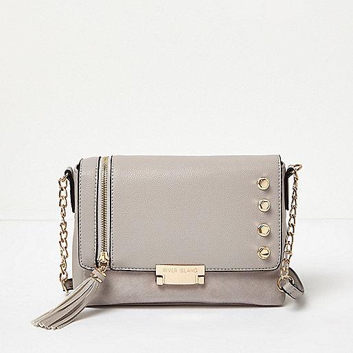 Grey chain foldover stud shoulder bag