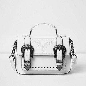 Weiße Mini-Satchel im Western-Stil