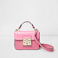 Pink lock front mini satchel cross body bag