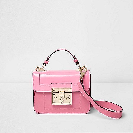 Pink lock front mini satchel cross body bag