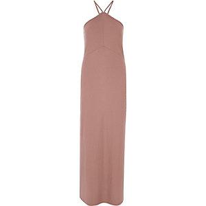 Roze maxi-jurk met zijsplit
