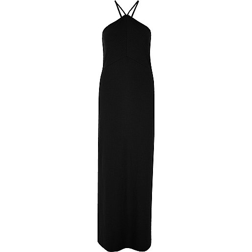 Black side split maxi dress