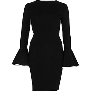 Black bodycon umbrella sleeve dress
