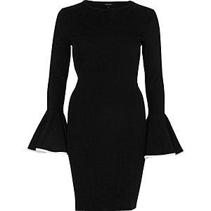Black bodycon umbrella sleeve dress
