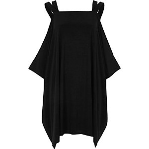 Black cold shoulder trapeze dress