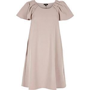 Nude pink frill sleeve dress