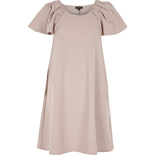 Nude pink frill sleeve dress