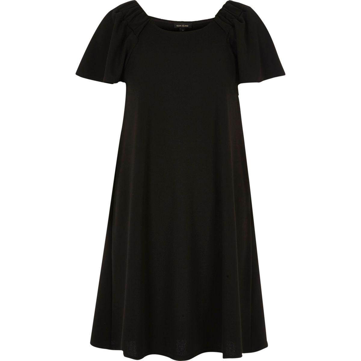 Zwarte jurk met ruches