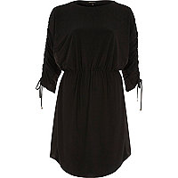 Black drawstring detail mini dress
